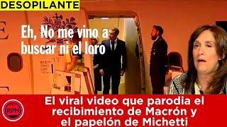 El viral video que parodia el recibimiento de Macrón y  el papelón de Michetti