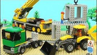 Funny Video | Lego Construction Site (Skyscraper Building, Mobile Crane, Excavat | Lego Stop Motion