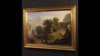 Antico dipinto italiano paesaggio firmato C. Piacenza e datato 1855