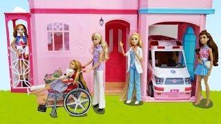 Barbie Doll Ambulance Hospital Toy & Doctor Rapunzel Pink Hospital