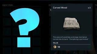 """Assassin's Creed Odyssey - What is This? (""""Everything is permitted"""" on a block of wood)"""